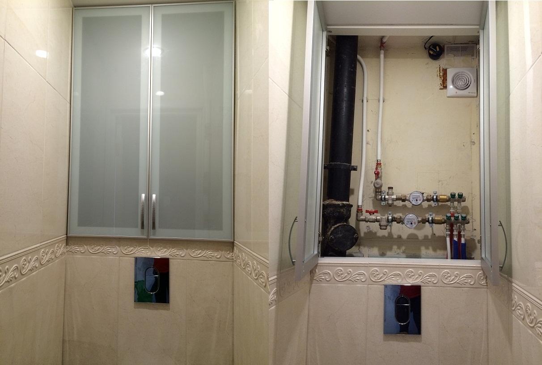 Алюминиевые дверцы для шкафа в туалете